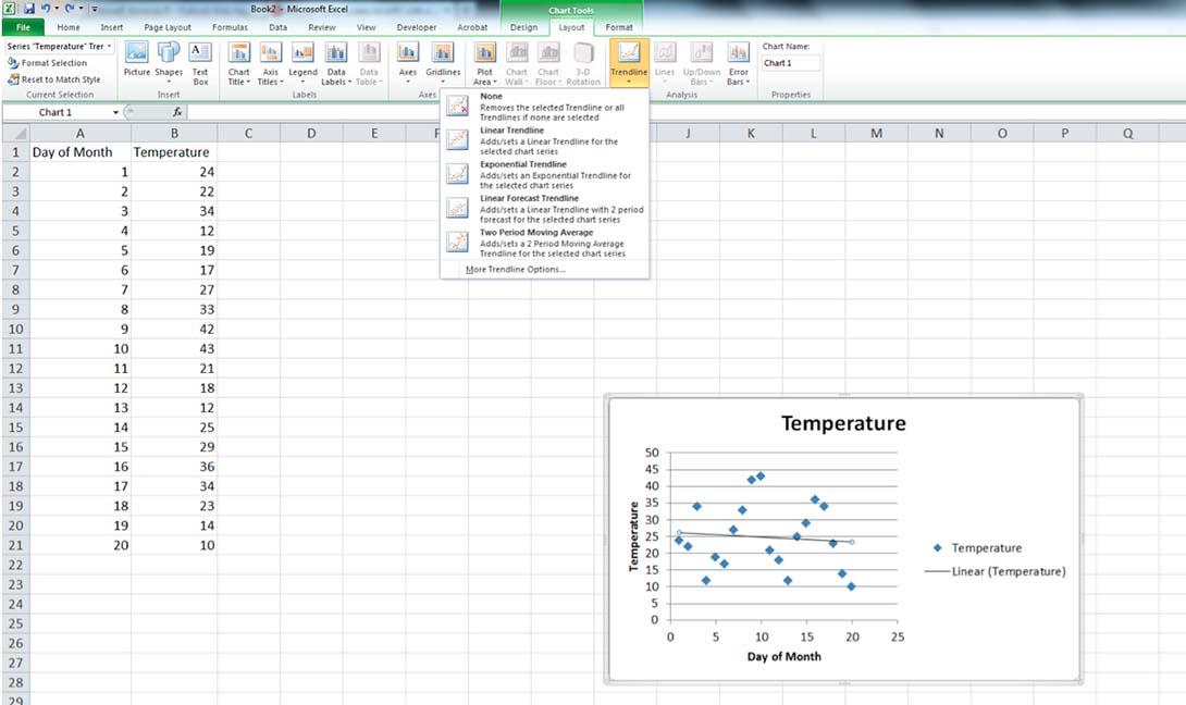 Screenshot of Trendline options in Excel