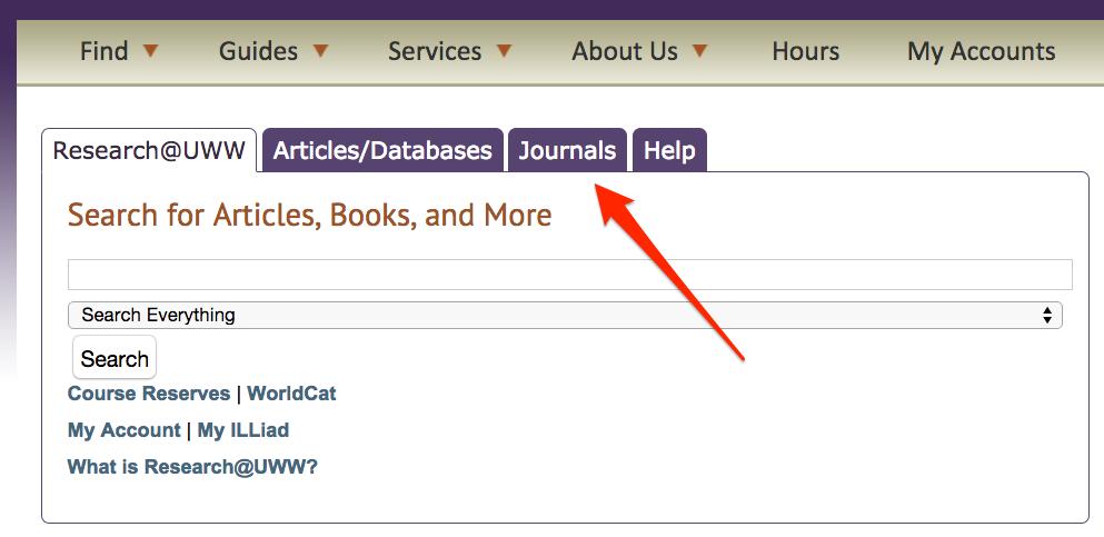 Journals Tab on Andersen Library Homepage