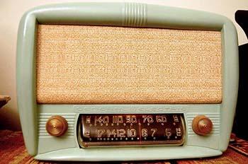 Mint colored vintage radio