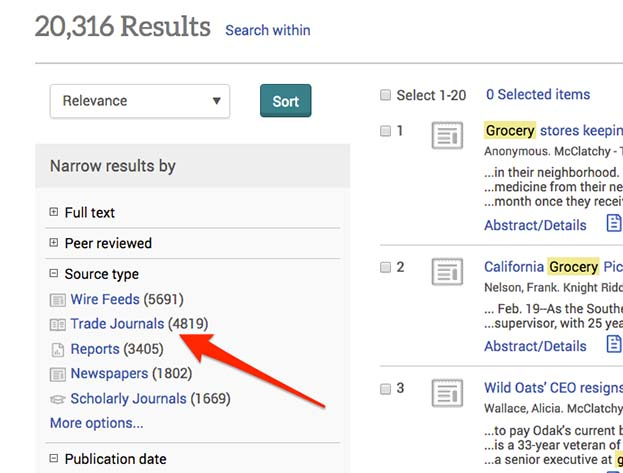 Screenshot of ABI/Inform Complete showing search limits on the left side of search results. Under Source Type it reads Wire Feeds, Trad Journals, Reports, Newspapers, Scholarly Journals