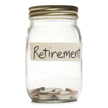 Jar labeled Retirement containing a few coins