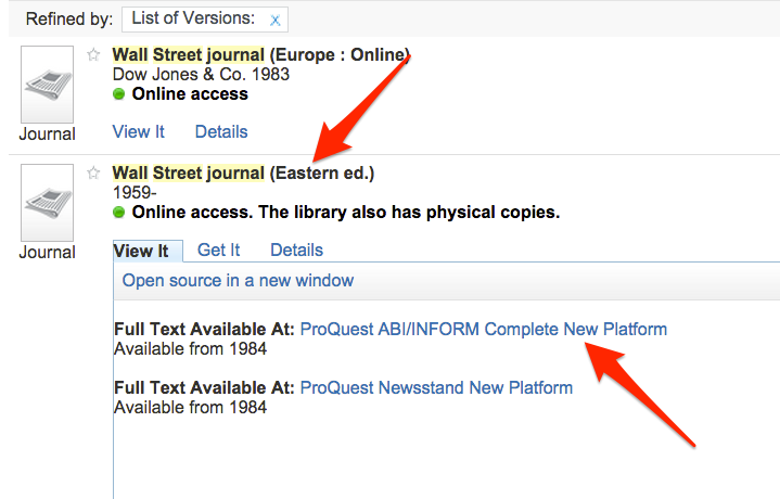 Location of Full Text Available At links for the Wall Street Journal search results