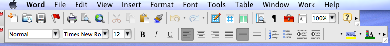 Word Menu & Tool Bar