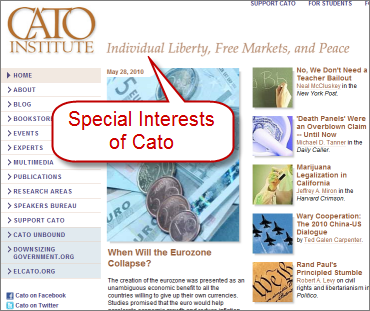 Screenshot of Cato Insitute website with their interst, click to see full size