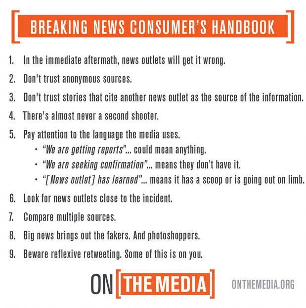 "Breaking News Consumer's Handbook 1. In the immediate aftermath, news outlets will get it wrong. 2. Don't trust anonymous sources. 3. Don't trust stories that cite another news outlet as the source of the information. 4. There's almost never a second shooter. 5. Pay attention to the language the media uses. ""We are getting reports"" could mean anything. ""We are seeking information"" means they don't have it. ""[News outlet] had learned"" means it has a scoop or is going out on limb. 6. Look for news outlets close to the incident. 7. Compare multiple sources. 8. Big news brings out the fakers. And photoshoppers. 9. Beware reflexive retweeting. Some of this is on you. On The Media. Onthemedia.org"
