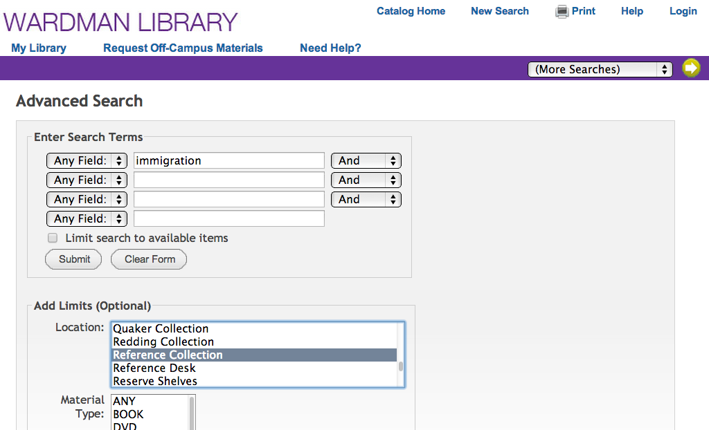 screenshot of advanced search page