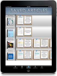 Screenshot of saved articles page