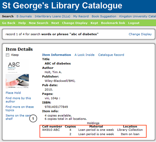 Image of library catalogue  details for ABC of Diabetes book