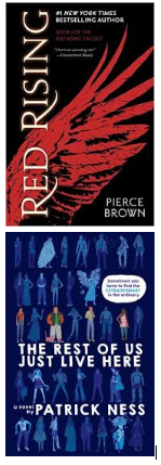 Nutmeg High School Nominees Book Covers Red Rising and The Rest of Us Just Live Here