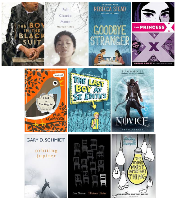 Nutmeg Award Nominees Book Covers The Boy in the Black Suit, Full Cicada Moon, Goodbye Stranger, Princess X, The Mockingbird, The Last Boy at St. Edith's, Summoner, Orbiting Jupiter, Thirteen Chairs, The Seventh Most Important Thing