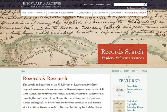 History, arts and archives from the house of representatives