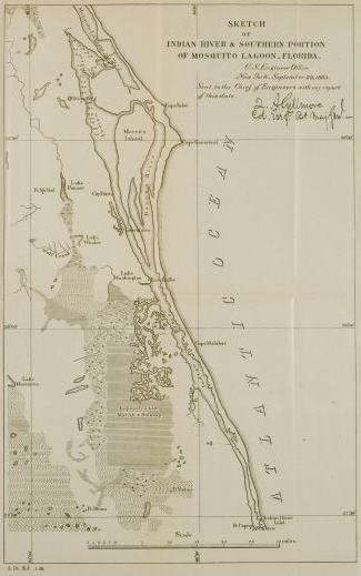 Sketch of Indian River & southern portion of Mosquito Lagoon, Florida. September 29, 1883. Serial Set volume 2165.