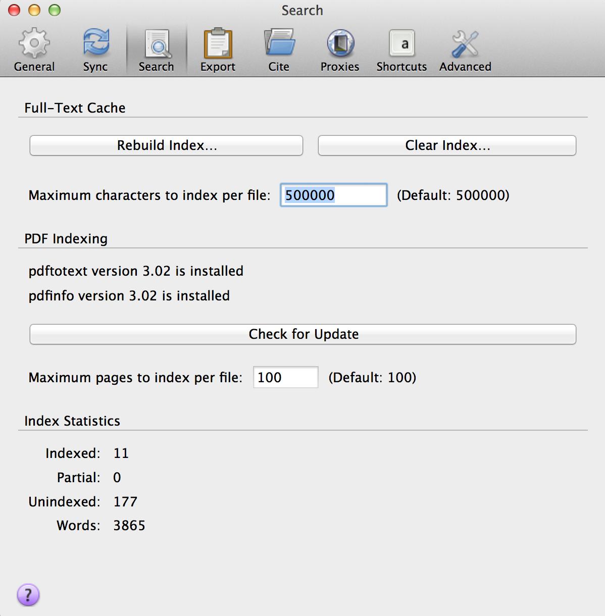 PDF Indexing Pop-up