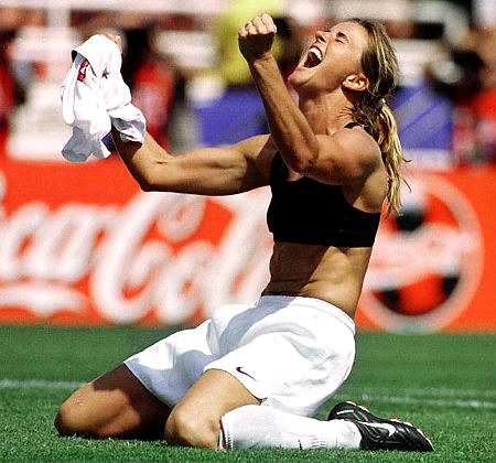 Picture of Brandi Chastain in a moment of victory