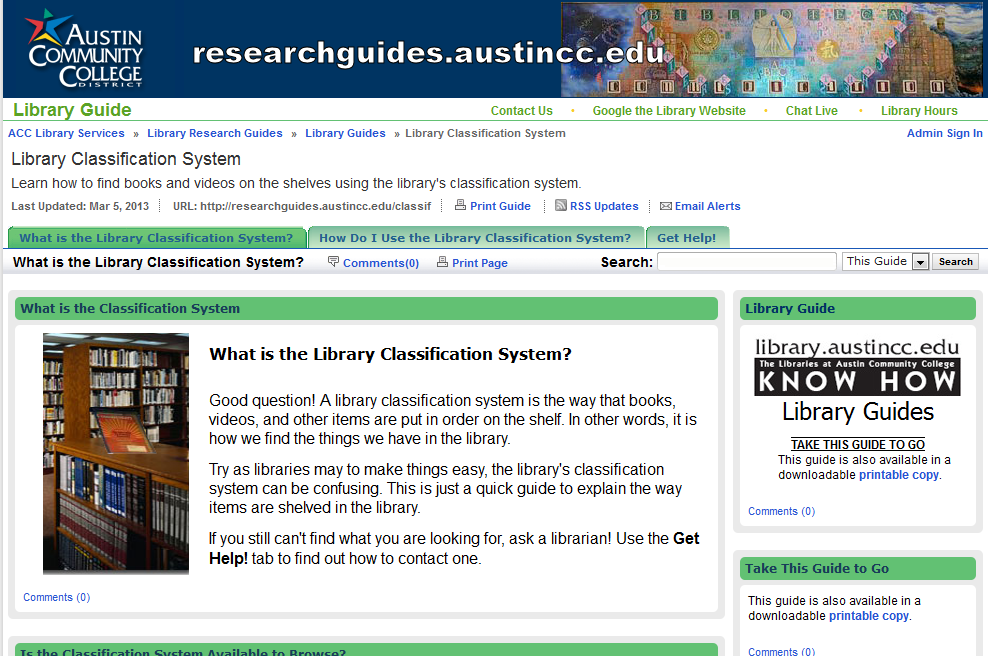 the library classification system