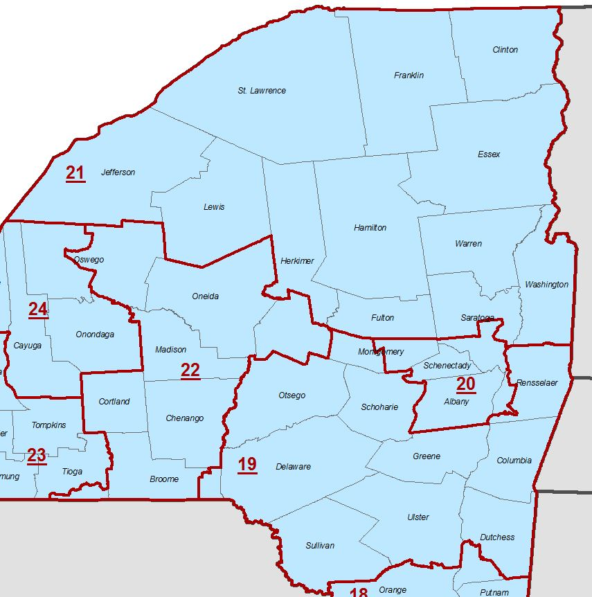 Norther and eastern New York congressional district map
