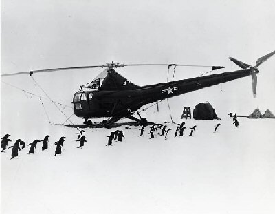 Photograph of penguins and a helicopter in Antarctica 1948