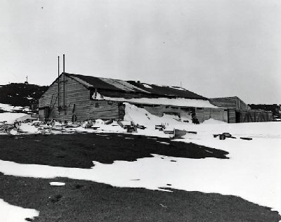 Photograph of Scott's camp at McMurdo Sound, Antarctica 1948