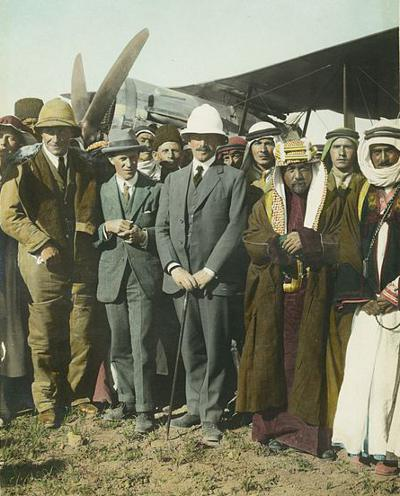 Lawrence at Amman Aerodome, 1921