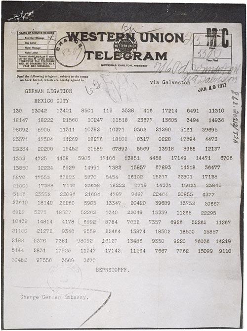 Zimmermann Telegram Coded
