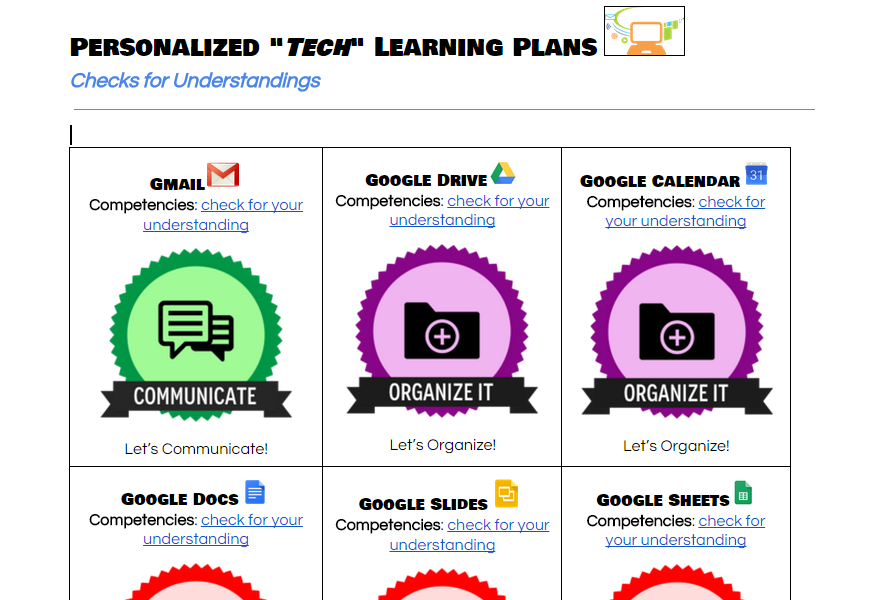 screenshot of the google doc containing links to personalized tech learning