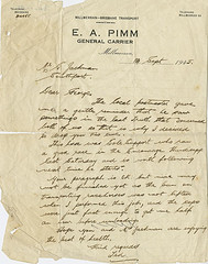 Letter written to George Jackman from E. A. Pimm, Millmerran, 1945