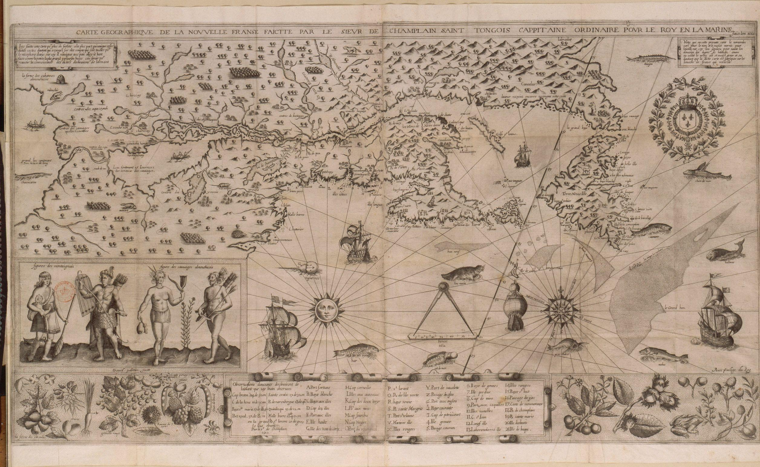 A map of New France made by Samuel de Champlain in 1612.