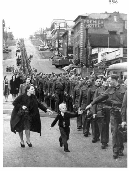 British Columbia's WWII troops marching down 8th Street in New Westminster