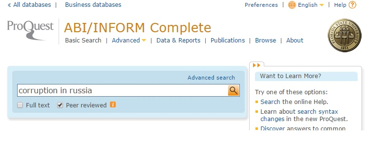 """Example search on ProQuest ABI/INFORM Complete with """"Peer reviewed"""" option box selected."""