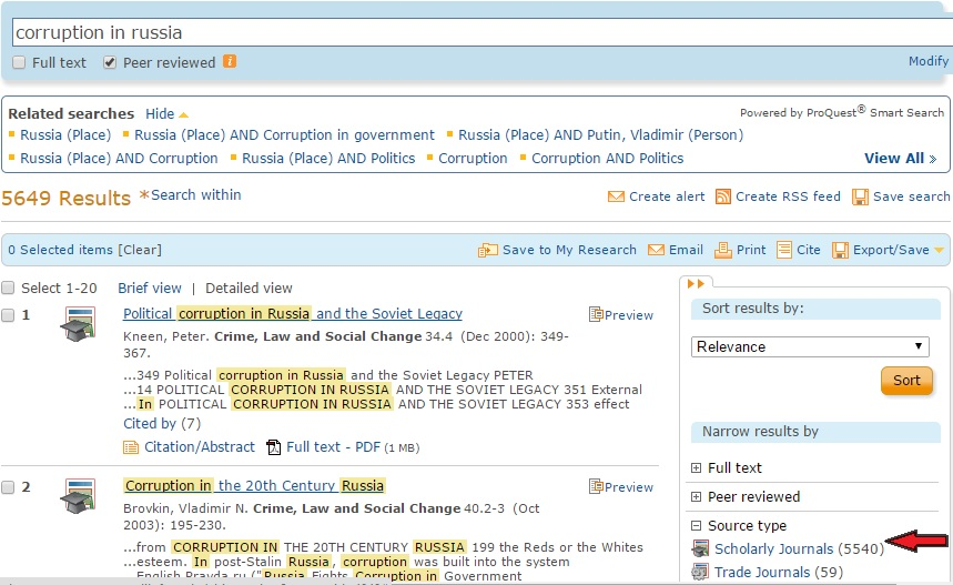 """Search results page for example search with red arrow pointing to """"Scholarly Journals"""""""