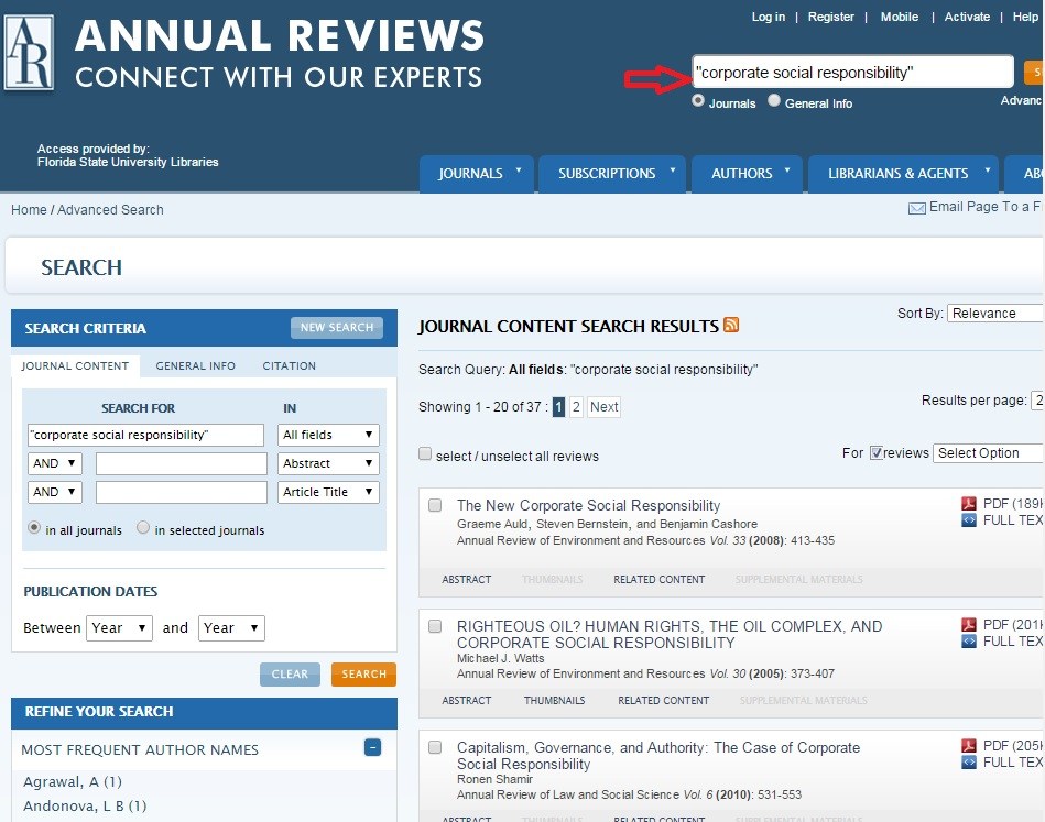 """""""'corporate social responsibility'"""" search results in Annual Reviews"""