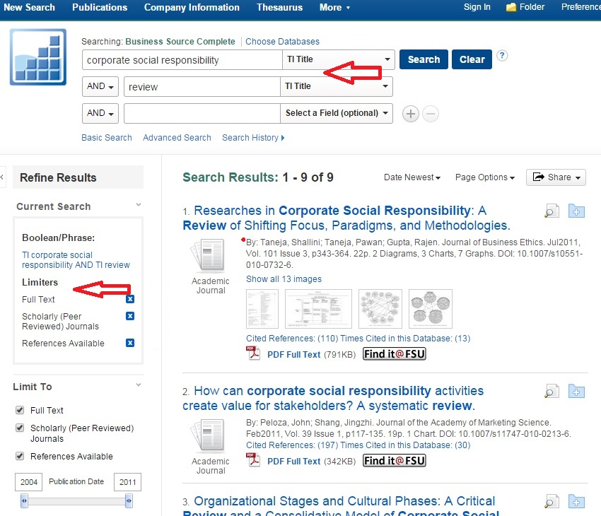"""Example search results limited by """"Title"""" field keywords and Full-Text, Scholarly Journals, and References Available options"""