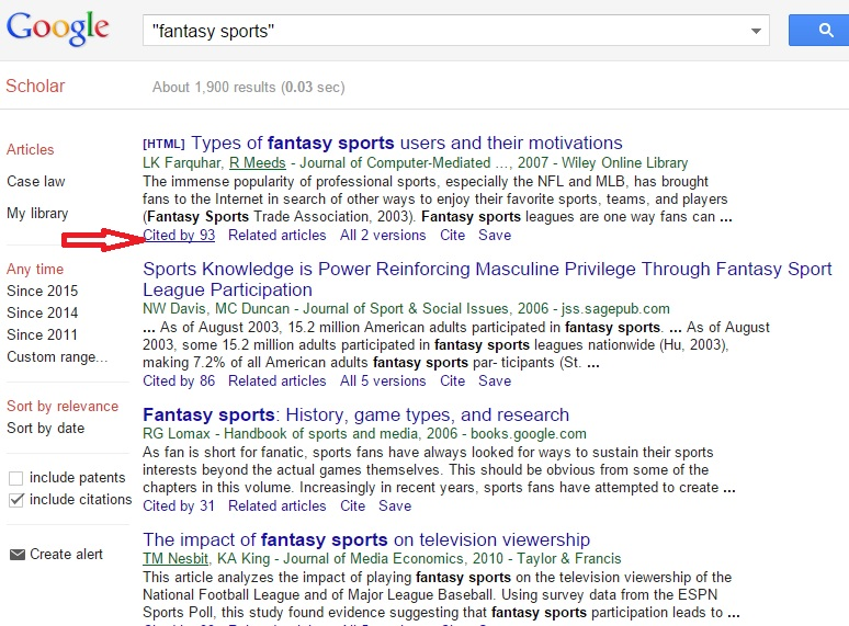 "Example Google Scholar search results page with red arrow pointing to article ""Cited by"" link"