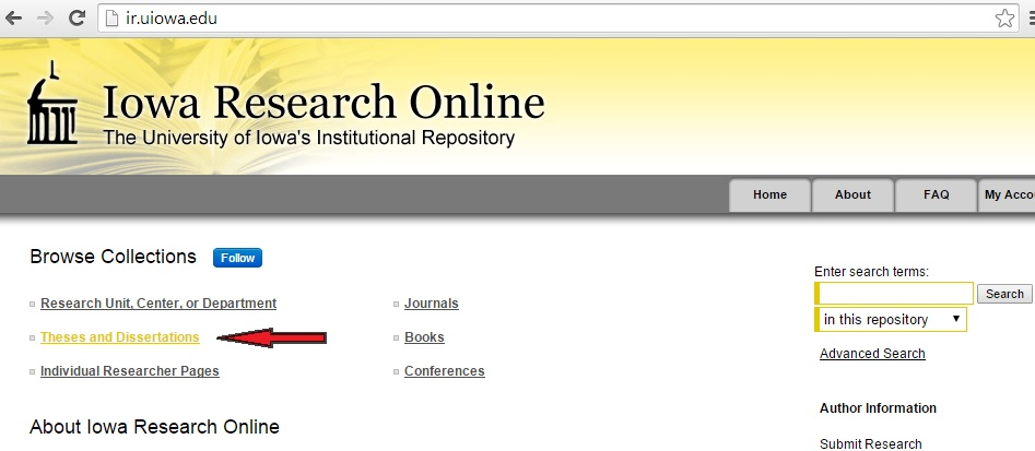 """Red arrow pointing to """"Theses and Dissertations"""" on Iowa Research Online"""