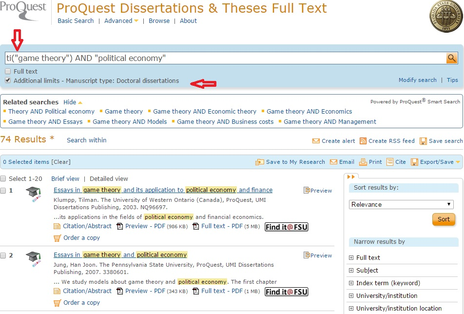 """Example search on ProQuest Dissertations & Theses Full Text with option box """"Additional limits - Manuscript type: Doctoral dissertations"""" selected"""
