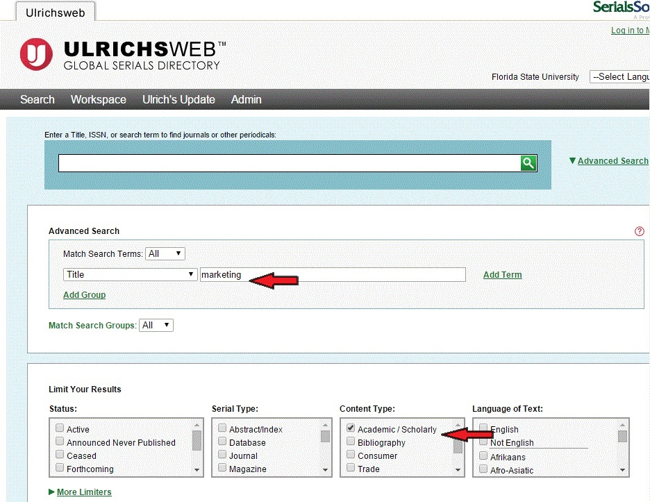 """Example search on Ulrichsweb: searching by title """"marketing"""""""