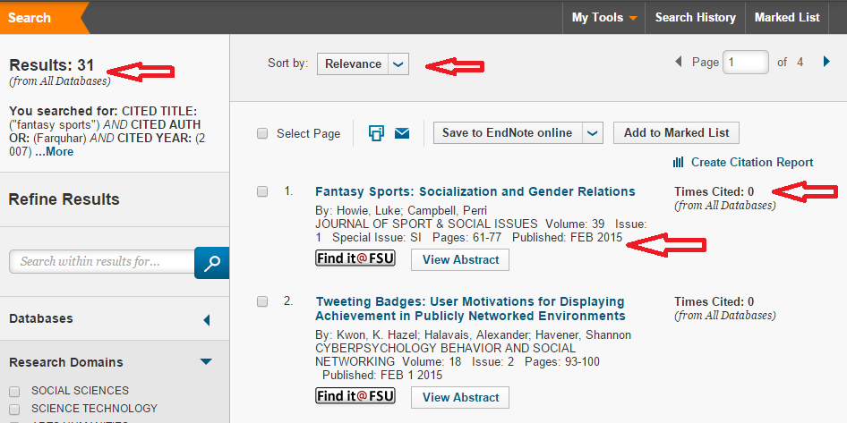 "Example results page with red arrows pointing to number of results, ""Sort by Relevance,"" date published, and times cited"