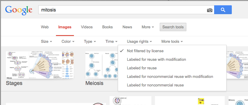 Google search filters