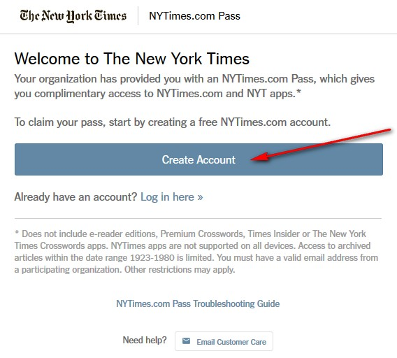 NY Times log in