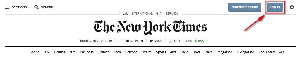 NYT Log in