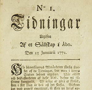 Sanomalehden Tidningar utgifne af et sällskap i Åbo etusivu vuodelta 1771