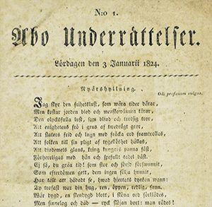 Sanomalehden Åbo Underrättelser etusivu vuodelta 1824.