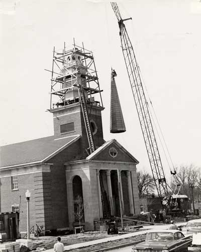 Steeple construction on Hammerschmidt Chapel, 1959