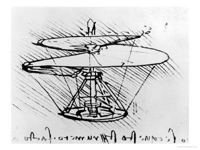 Leonardo Da Vinci's Corkscrew Helicopter Drawing