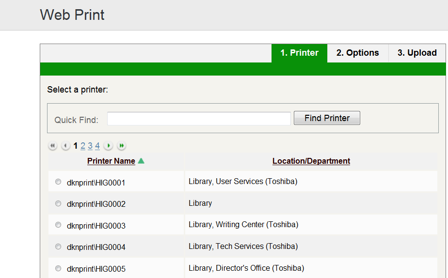 Library Printer Options