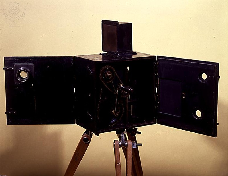 View of one of the first combined film and projection cameras, manufactured by August