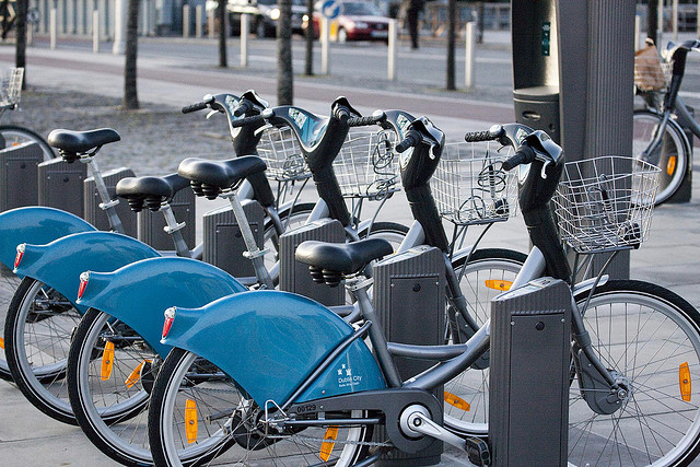 Blue bicicles for rent in Dublin