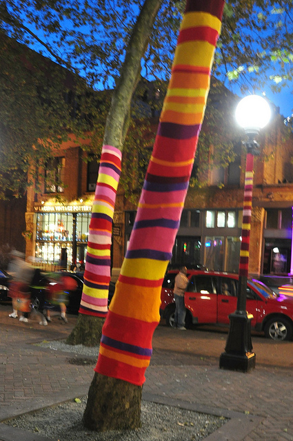 Yellow, red, purple, and pink striped strips of yarn knitted around a tree.