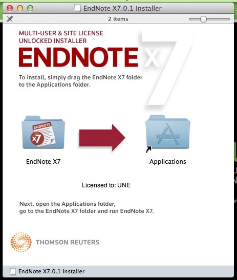 Drag Endnote folder to Applications folder