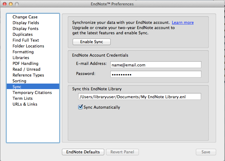 Endnote Preferences enabling Sync